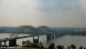 "The ""New"" Bridge view towards Arkansas."